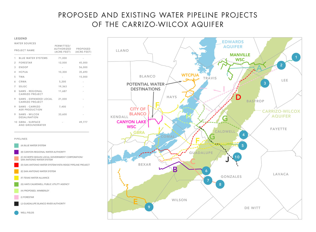 Proposed and Existing Water Pipeline Projects of the Carrizo-Wilcox Aquifer